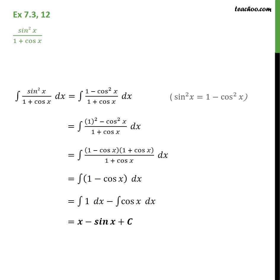 Ex 7.3, 12 - Integrate sin2 x / 1 + cos x - Class 12 CBSE - Ex 7.3