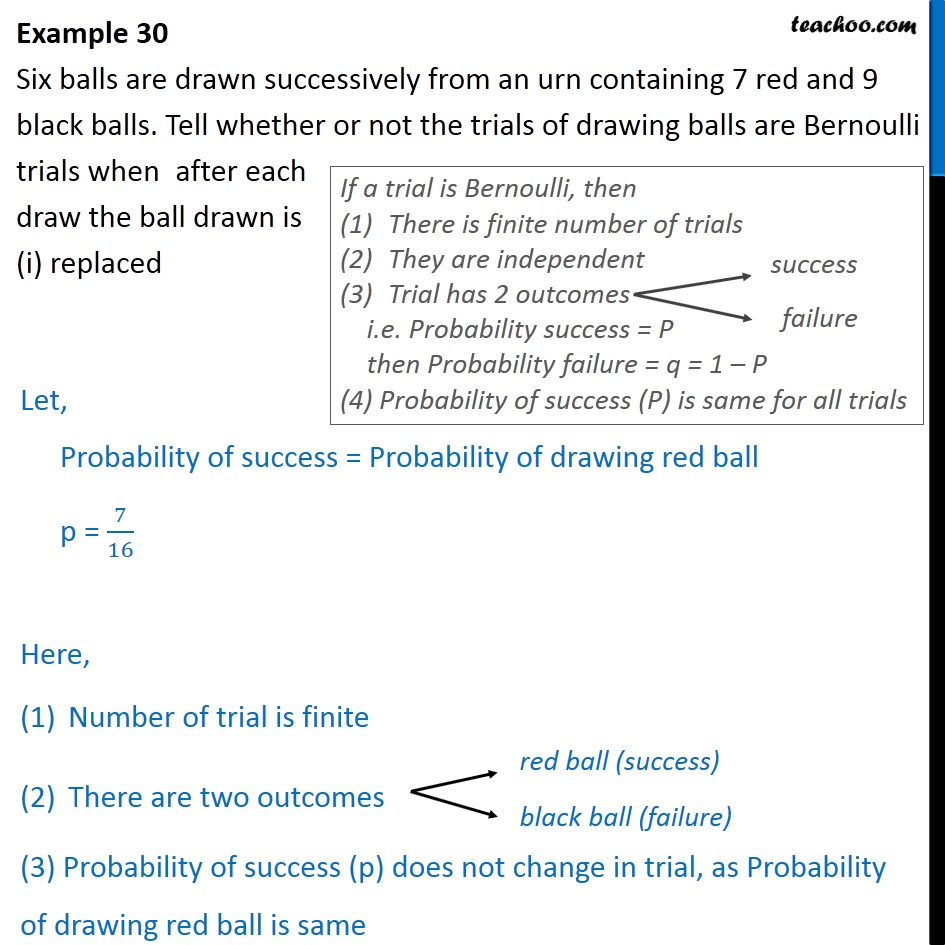 Example 30 - Six balls are drawn successively from an urn - Bernoulli Trials