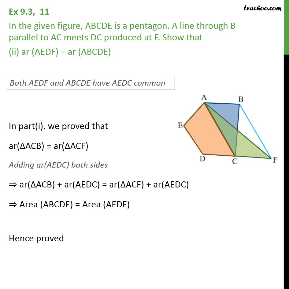 Ex 9.3, 11 - Chapter 9 Class 9 Areas of Parallelograms and Triangles - Part 2