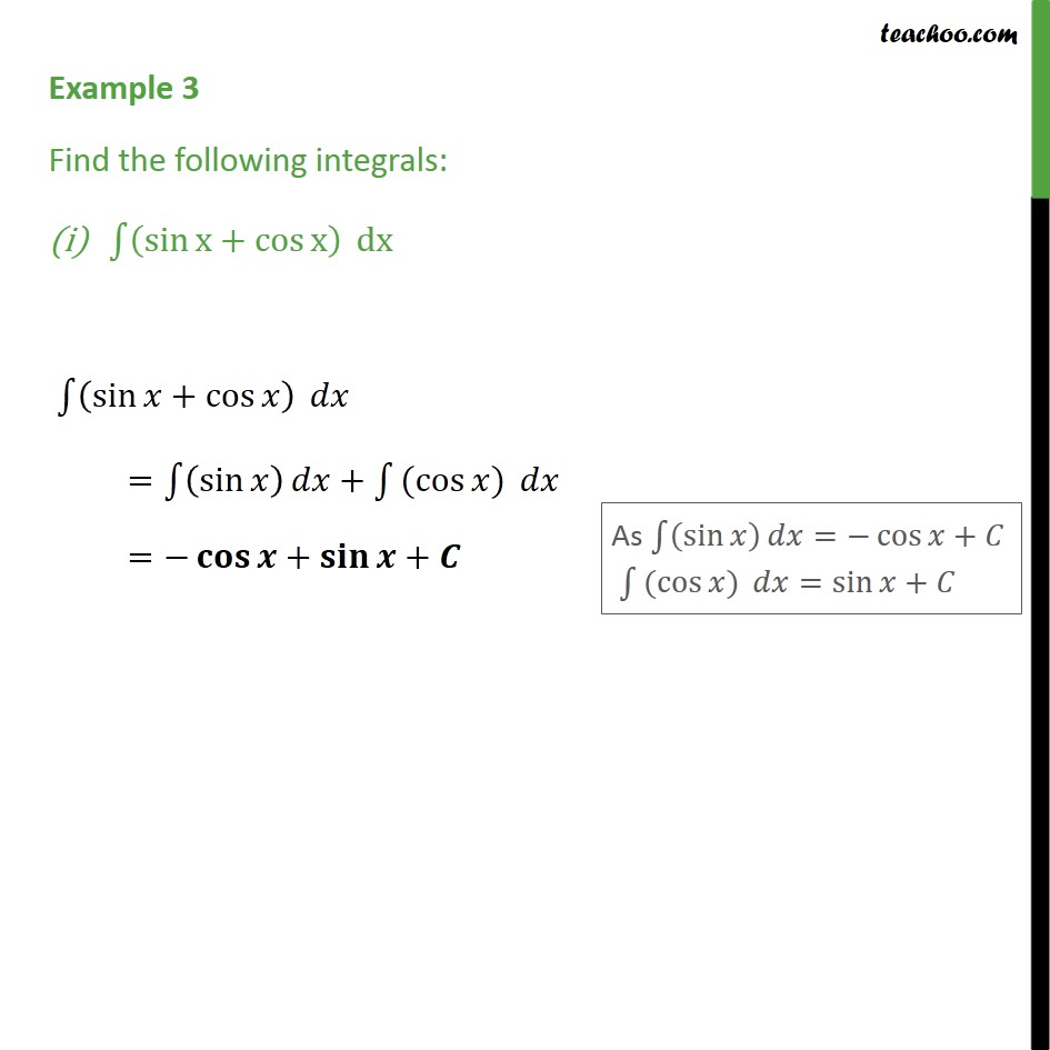 Example 3 - Find integrals (i) sin x + cos x dx - Class 12 - Using Trignometric Formulaes