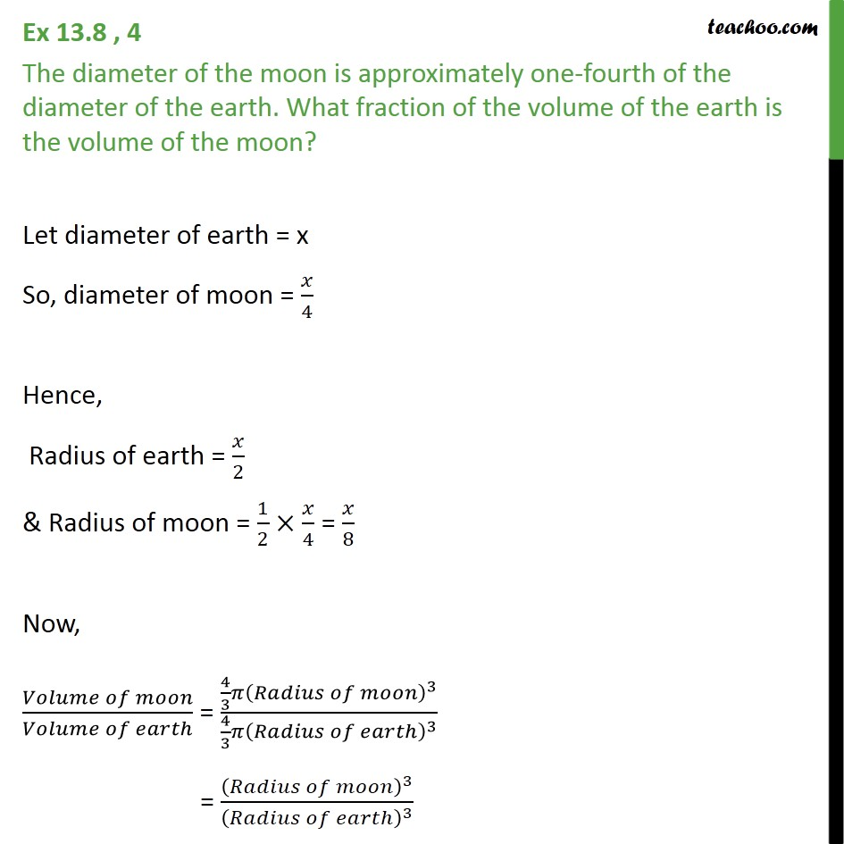 Ex 13.8, 4 - The diameter of the moon is approximately - Ex 13.8