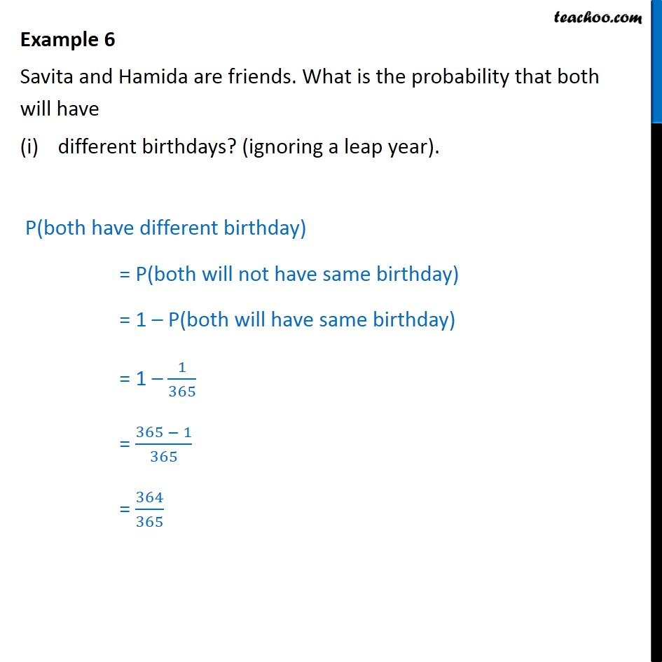 Example 6 - Savita and Hamida are friends. What is probability - Others