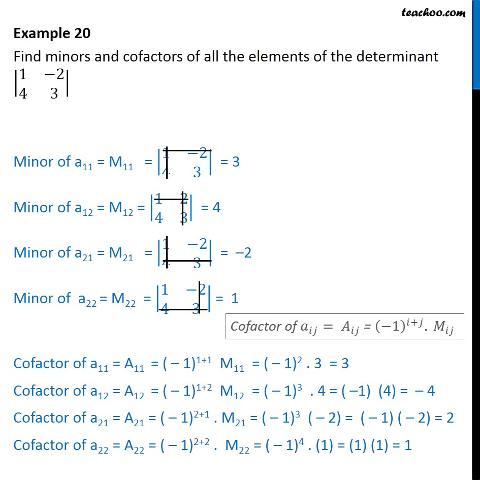 Example 20 - Find minors and cofactors of all elements - Examples