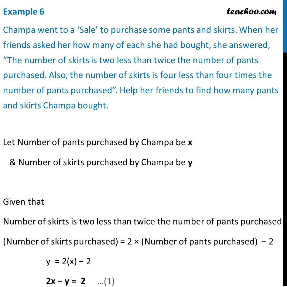 Example 6 - Champa went to a Sale to purchase some pants
