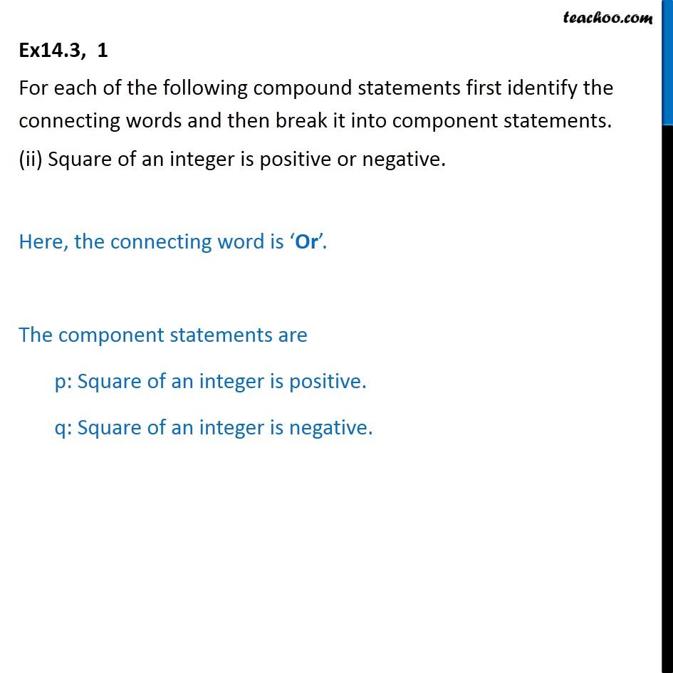 Ex 14.3,  1 - Chapter 14 Class 11 Mathematical Reasoning - Part 2