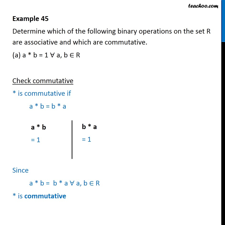 Example 45 - Determine binary operations as associative - Examples