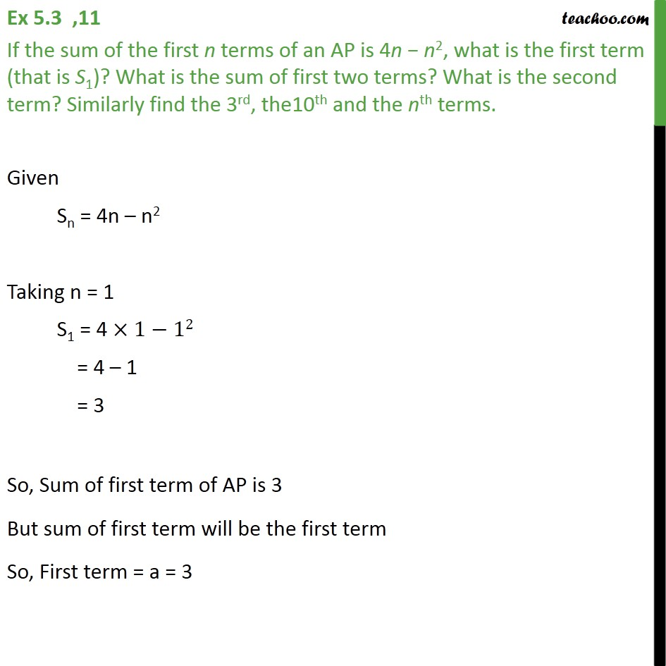 Ex 5.3, 11 - If sum of first n terms of AP is 4n - n2 - Ex 5.3