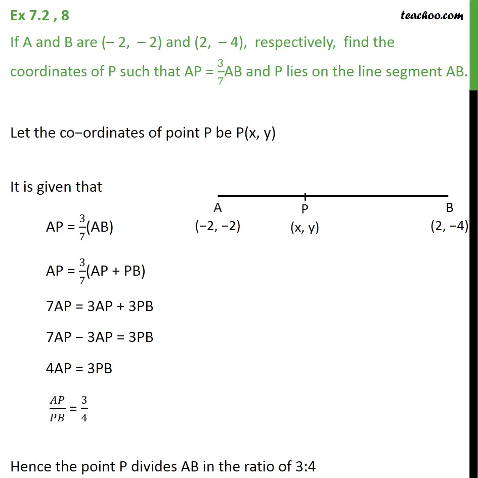 Ex 7.2, 8 - If A and B are (-2, -2) and (2, -4), find - Ex 7.2