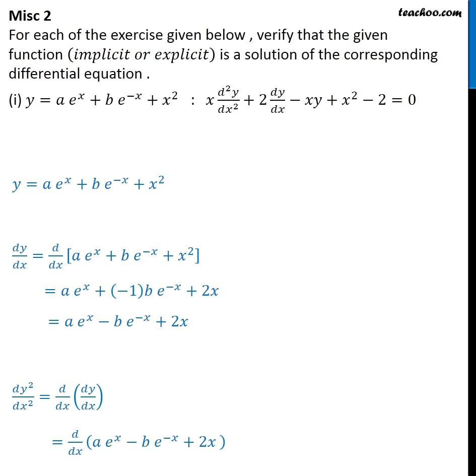 Misc 2 - Verify given function is a solution of differential - Gen and Particular Solution