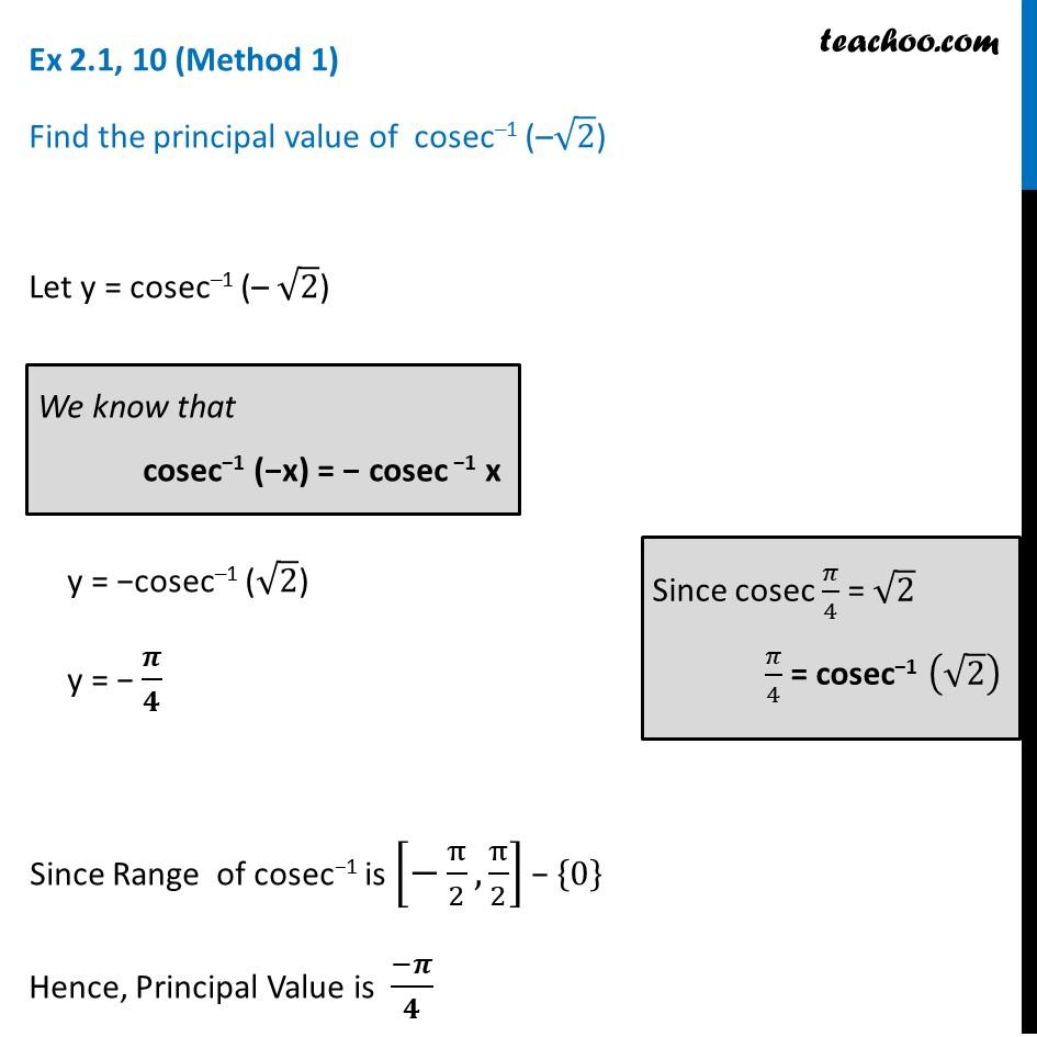 Ex 2.1, 10 - Find principal valueofcosec-1 (- root 2) - Ex 2.1