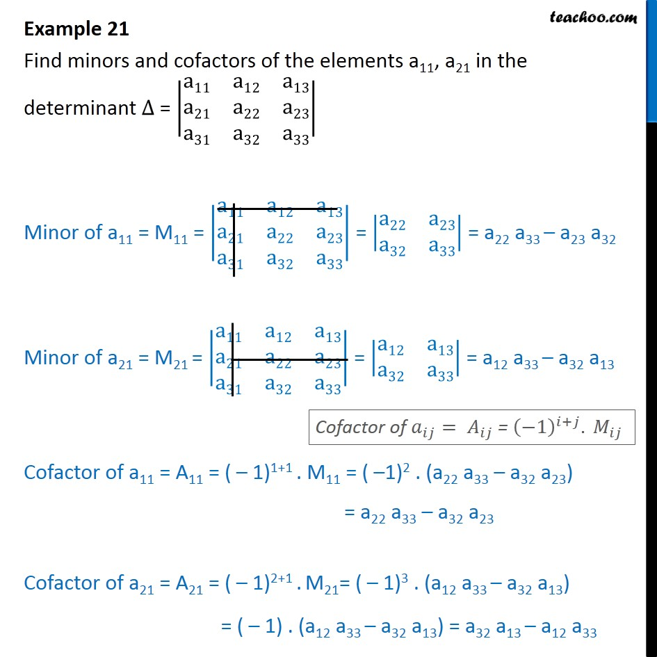 Example 21 - Find minors, cofactors of elements a11, a21 - Examples