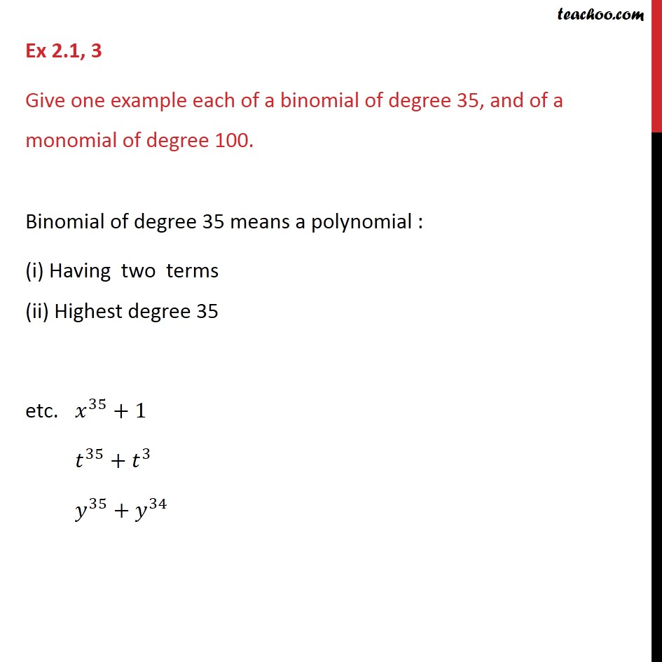 Ex 2.1, 3 - Give one example each of a binomial of degree - Ex 2.1