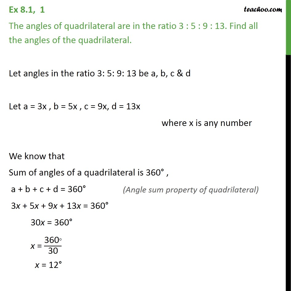 Ex 8.1, 1 - The angles of quadrilateral are in ratio 3 5 9 13 - Definations