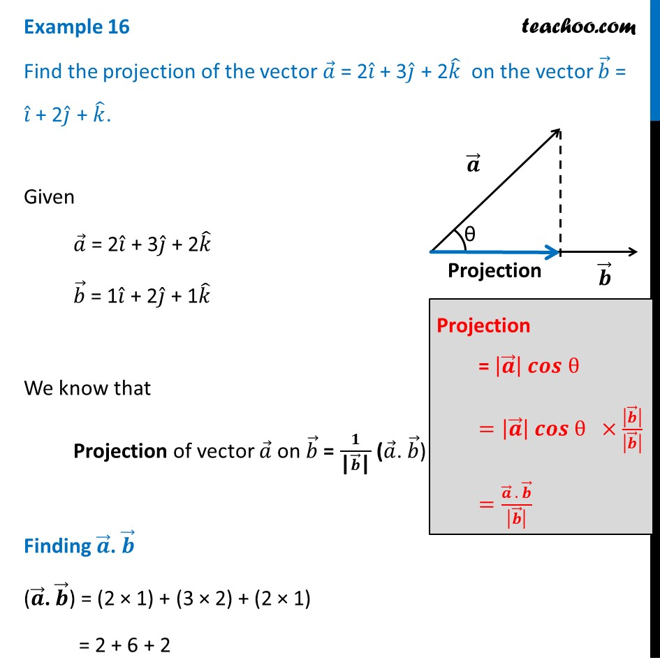 Find the projection of the vector a = 2i + 3j + 2k on vector b=i+2j+k