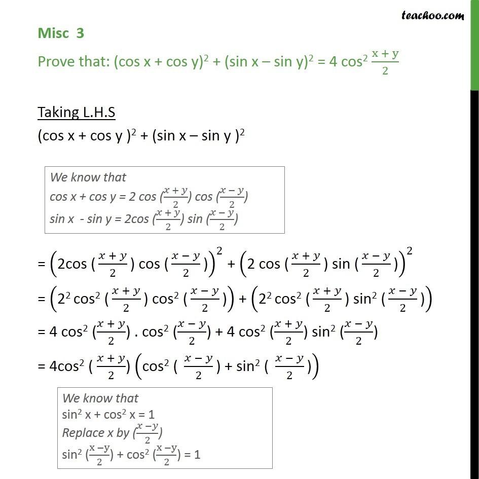 Misc 3 - Prove (cos x + cos y)2 + (sin x - sin y)2 - Class 11 - cos x + cos y formula