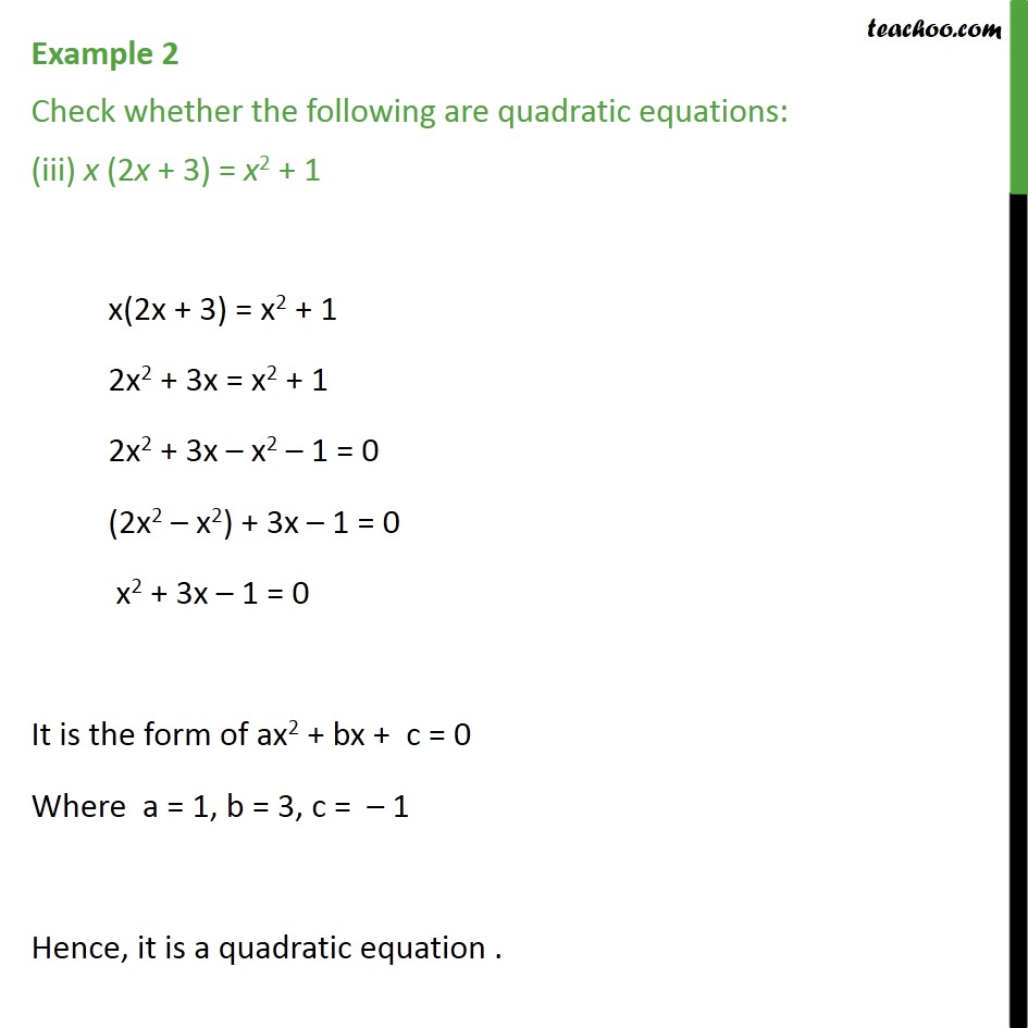 Example 2 - Chapter 4 Class 10 Quadratic Equations - Part 3