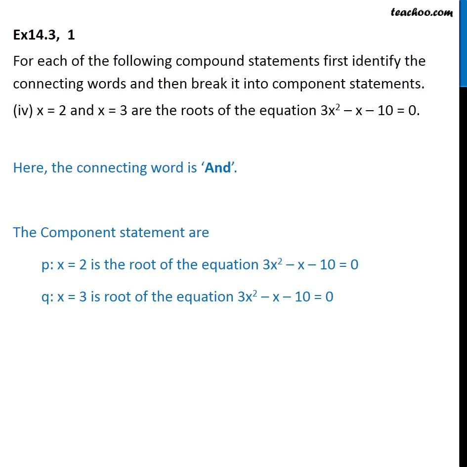Ex 14.3,  1 - Chapter 14 Class 11 Mathematical Reasoning - Part 4