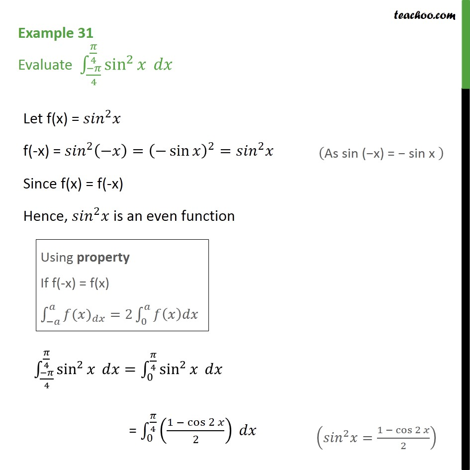 Example 31 - Evaluate definite integral sin2 x dx - Definate Integration by properties - P7
