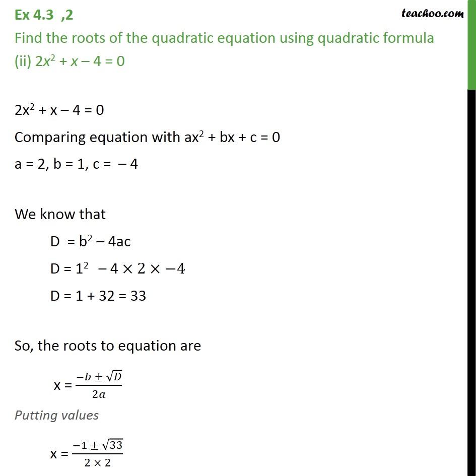 Ex 4.3, 2 - Chapter 4 Class 10 Quadratic Equations - Part 3