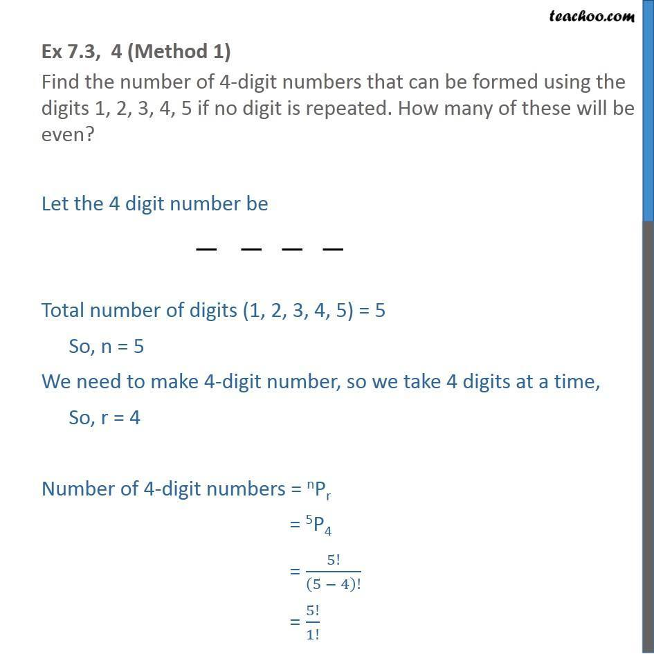 Ex 7.3, 4 - Find number of 4-digit numbers that can be formed - Permutation- non repeating