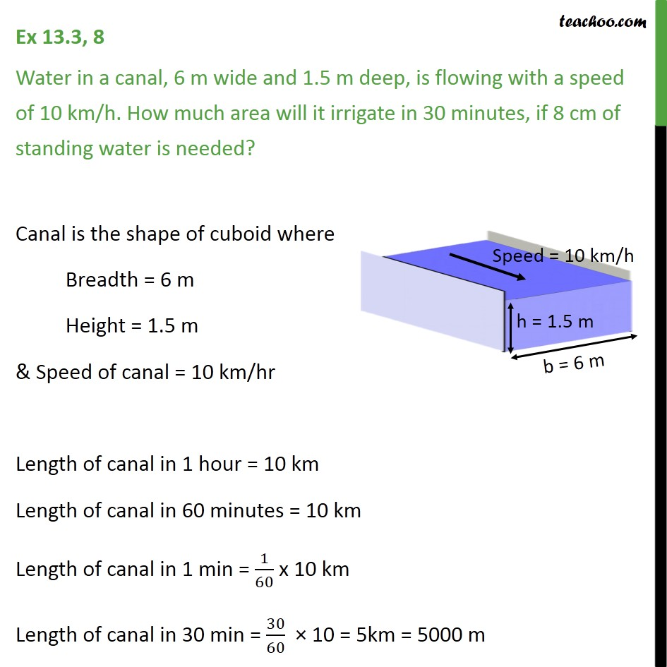 Ex 13.3, 8 - Water in a canal, 6 m wide and 1.5 m deep - Ex 13.3