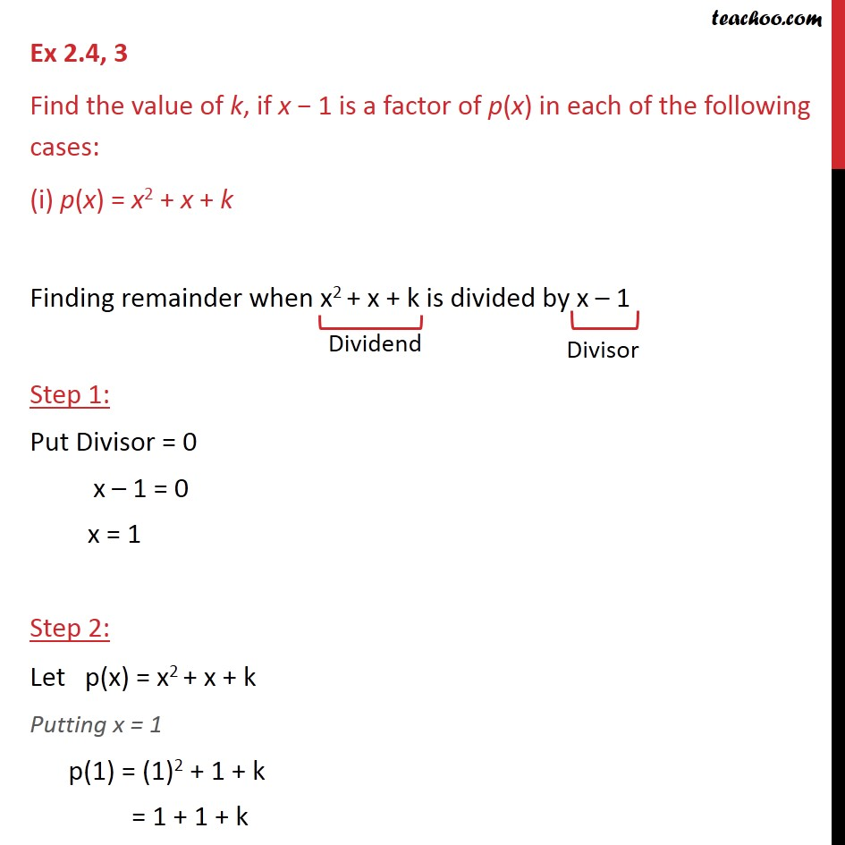 Ex 2.4, 3 - Find value of k, if x - 1 is a factor of p(x) - Ex 2.4