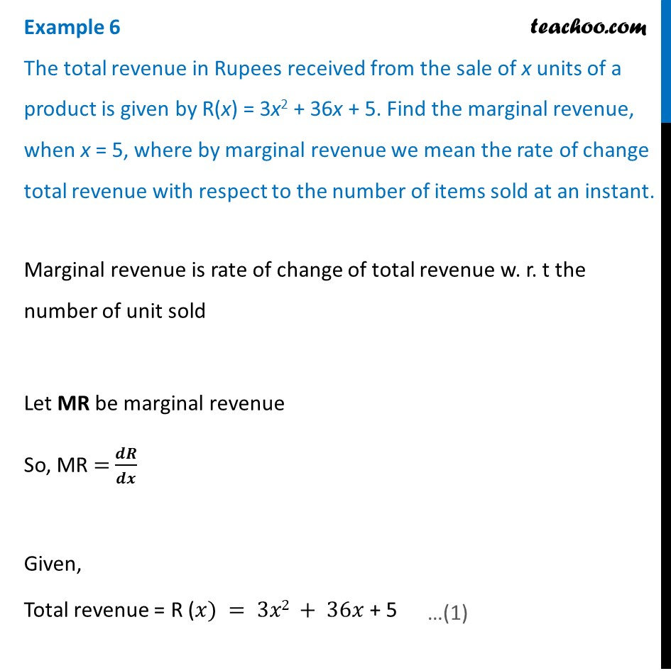 Example 6 - Total revenue received from sale of x units - Examples