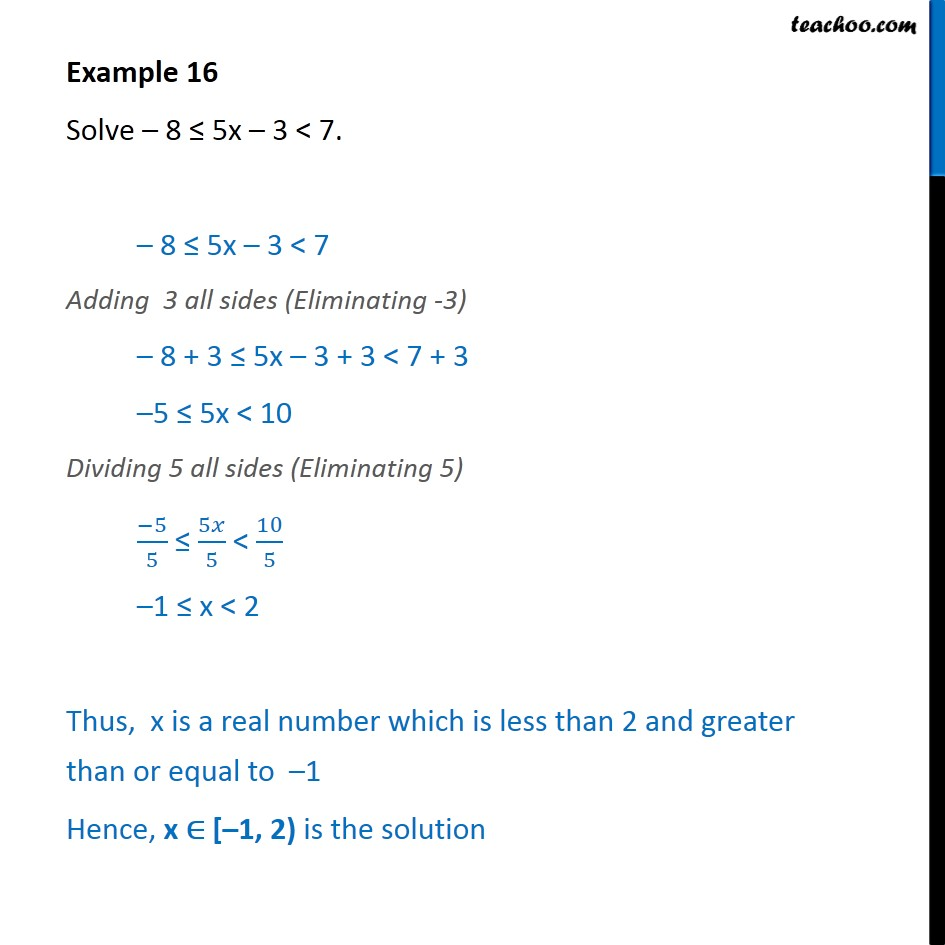 Example 16 - Solve -8 <= 5x - 3 < 7 - Chapter 6 Class 11 - Solving inequality  (both  sides)