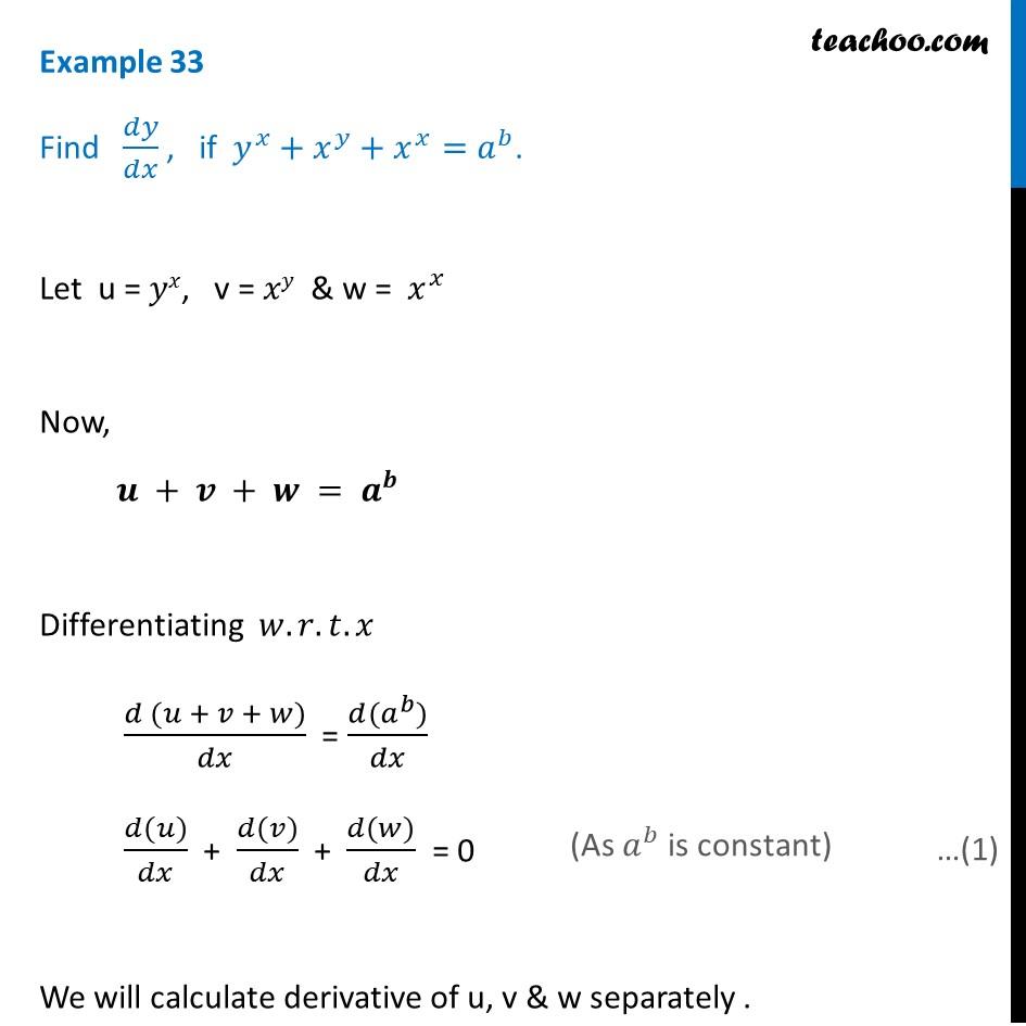 Example 33 - Find dy/dx if y^x + x^y + x^x = a^b - Teachoo