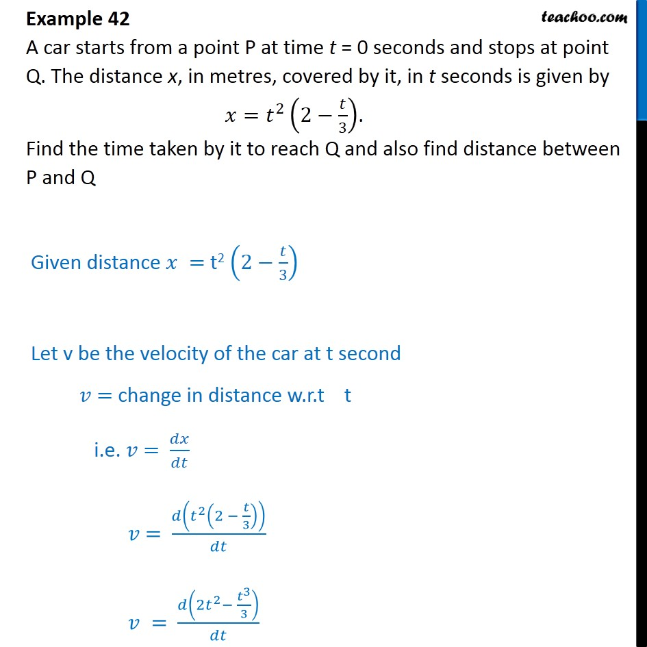 Example 42 - A car starts from a point P at time t = 0 seconds - Minima/ maxima (statement questions) - Geometry questions