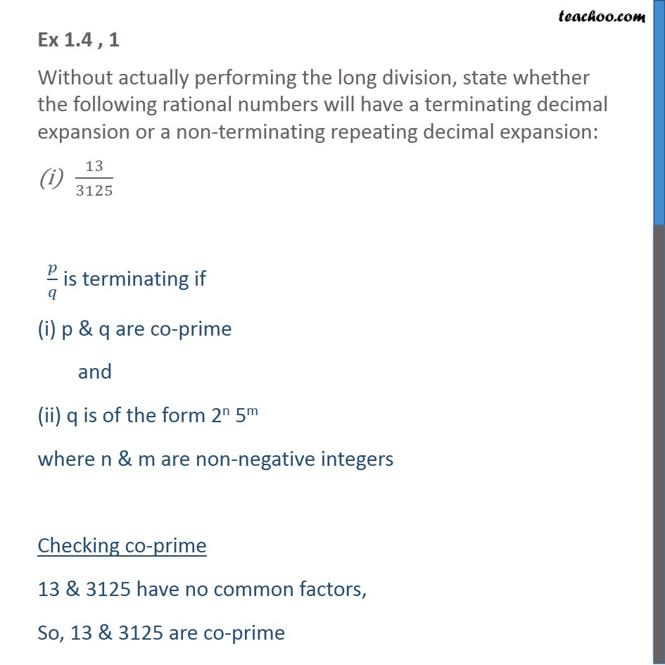 Ex 1.4, 1 - Without actually performing long division, state - Ex 1.4