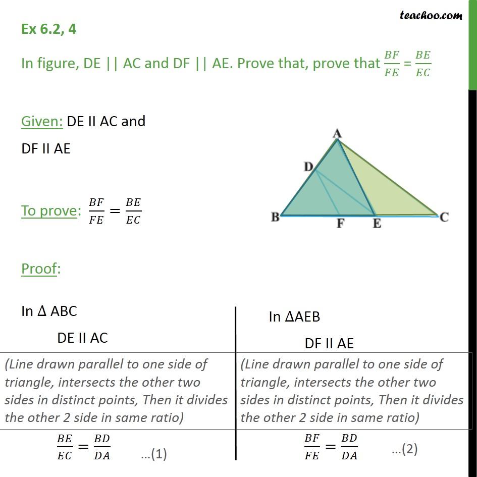 Ex 6.2, 4 - In figure, DE || AC and DF || AE. Prove that - Ex 6.2