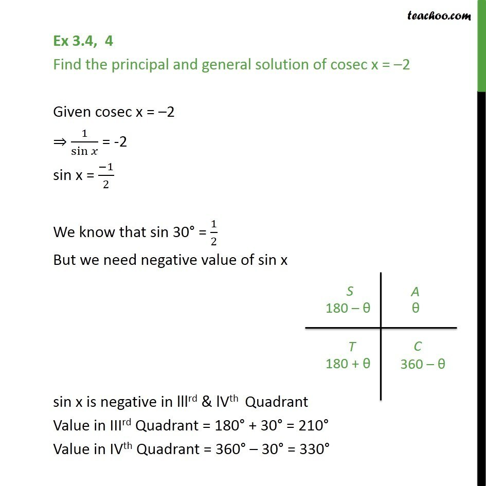 Ex 3.4, 4 - cosec x = -2, find principal and general solution - Finding general solutions