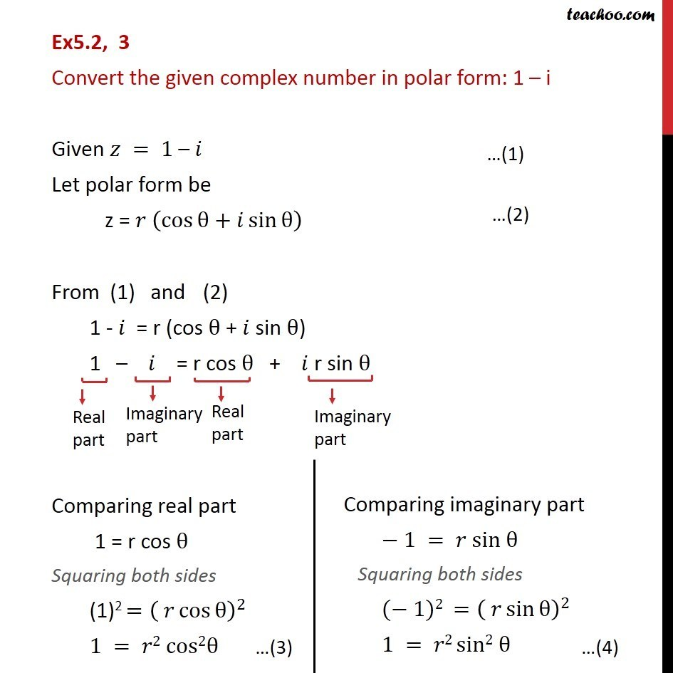 Ex 5.2, 3 - Convert in polar form: 1 - i - Chapter 5 Class 11 - Polar representation