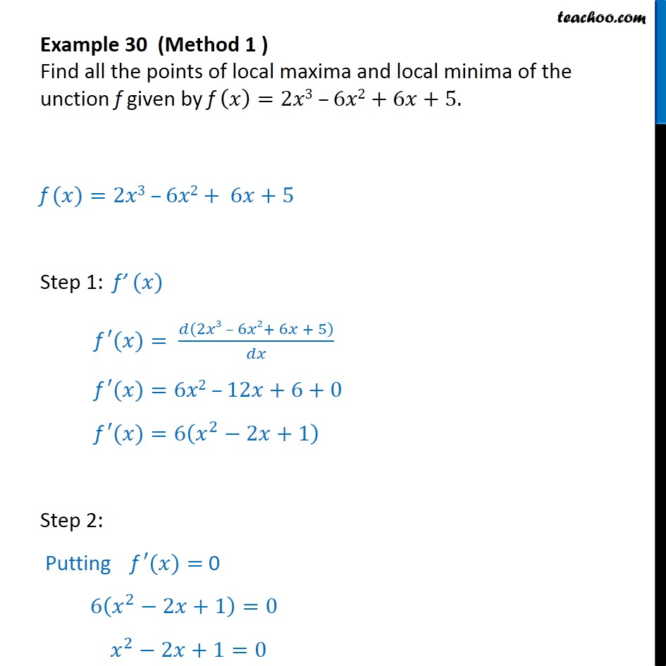 Example 30 - Find all points of local maxima, minima - CBSE - Examples