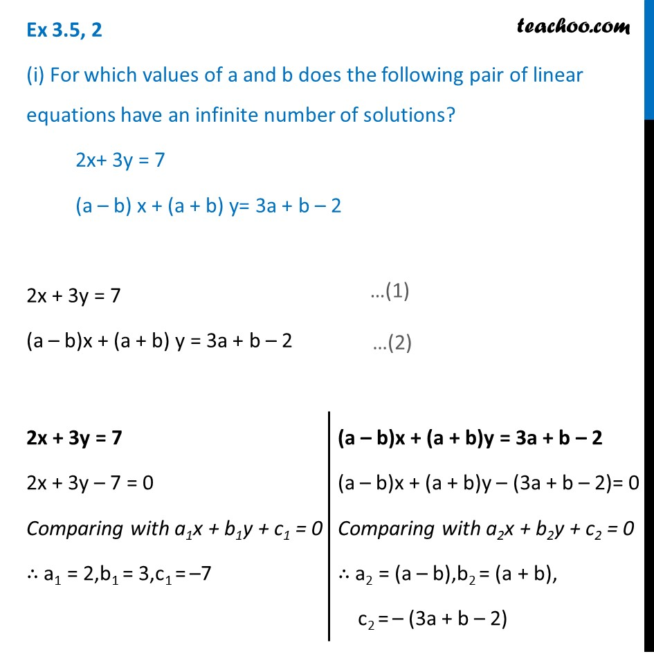 Ex 3.5, 2 (i) For which values of a and b does the pair - Ex 3.5