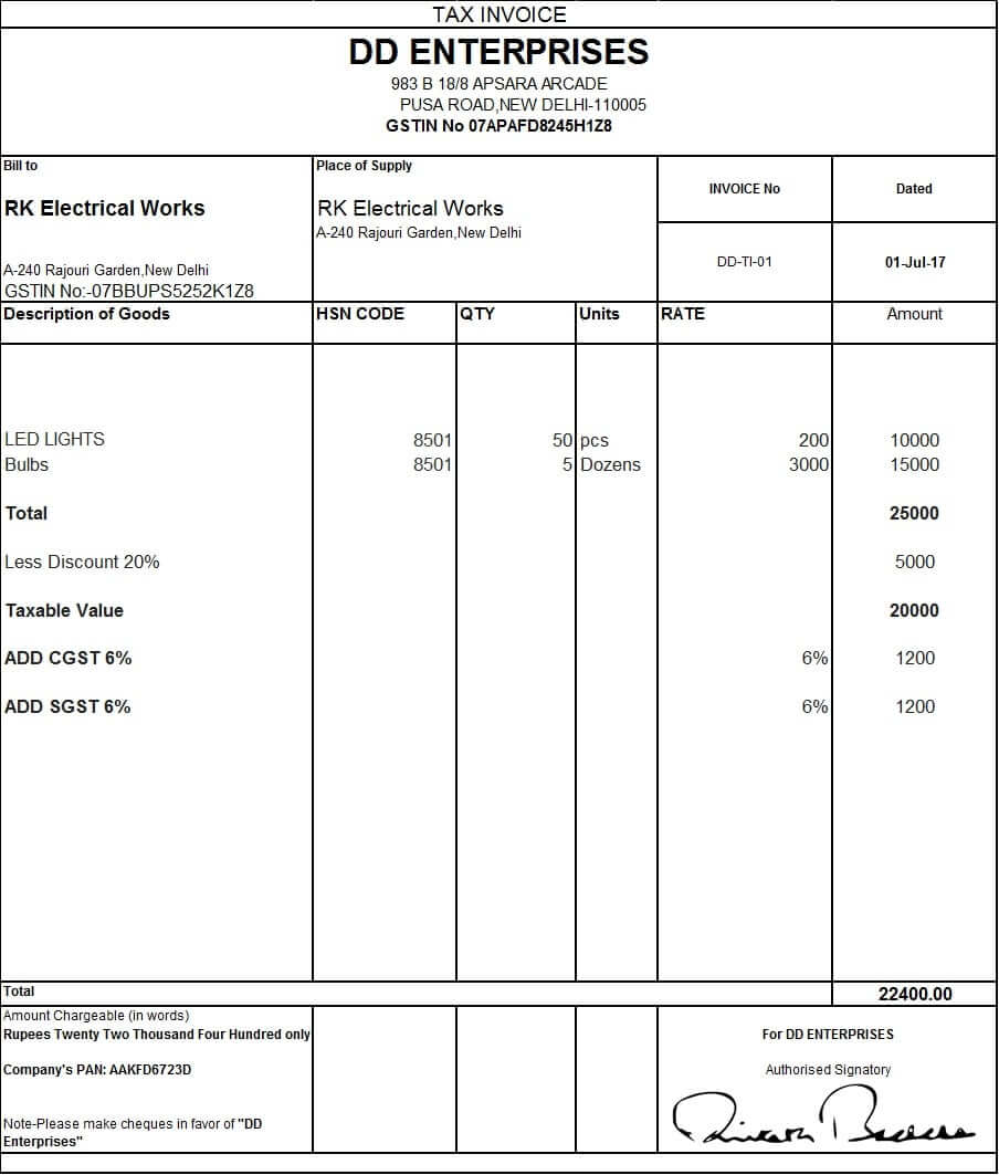 sample invoice with gst