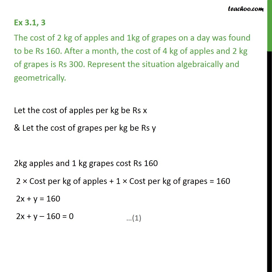 Ex 3.1, 3 - The cost of 2 kg apples and 1kg grapes - Forming equations graphically and algebraically