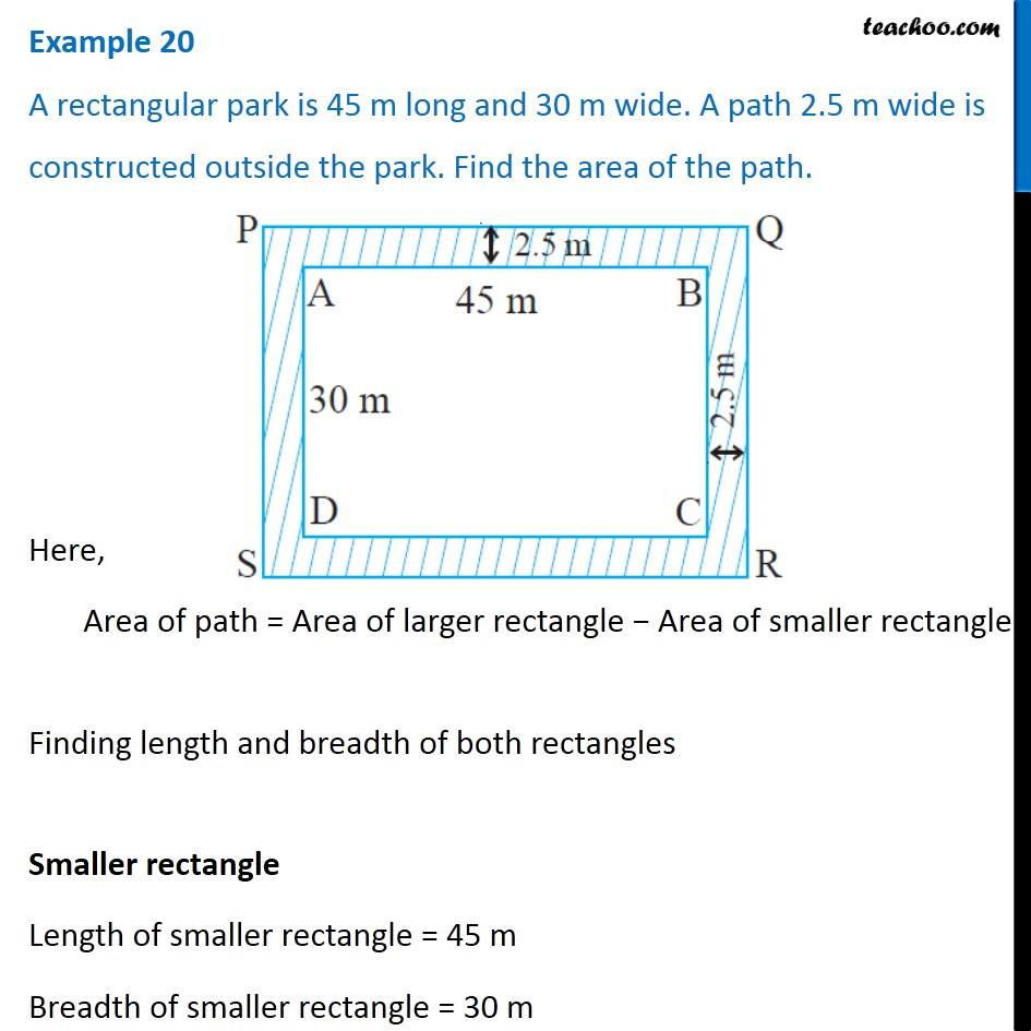 Example 20 - A rectangular park is 45 m long and 30 m wide. A path
