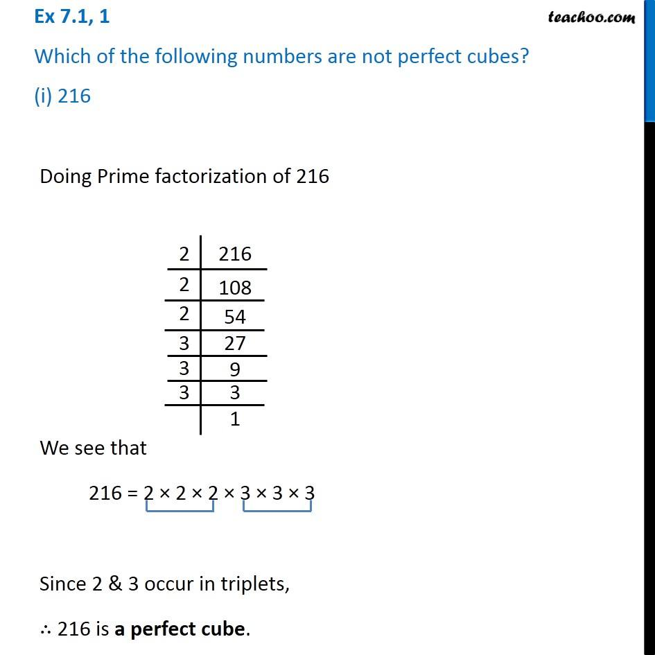 Ex 71 1 Which Of The Following Numbers Are Not Perfect Cubes