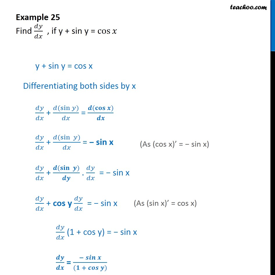 Example 25 - Find dy/dx, if y + sin y = cos x - Finding derivative of Implicit functions