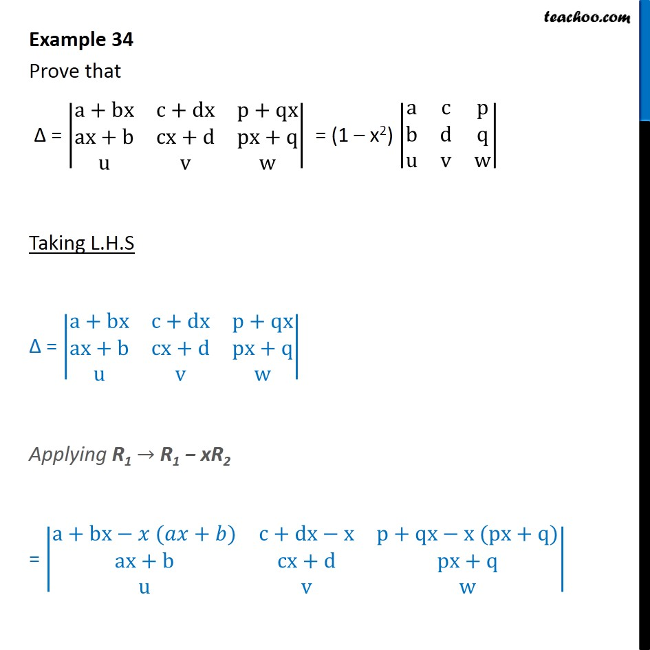 Example 34 - Prove that determinant = (1 - x2) |a c p b d - Examples