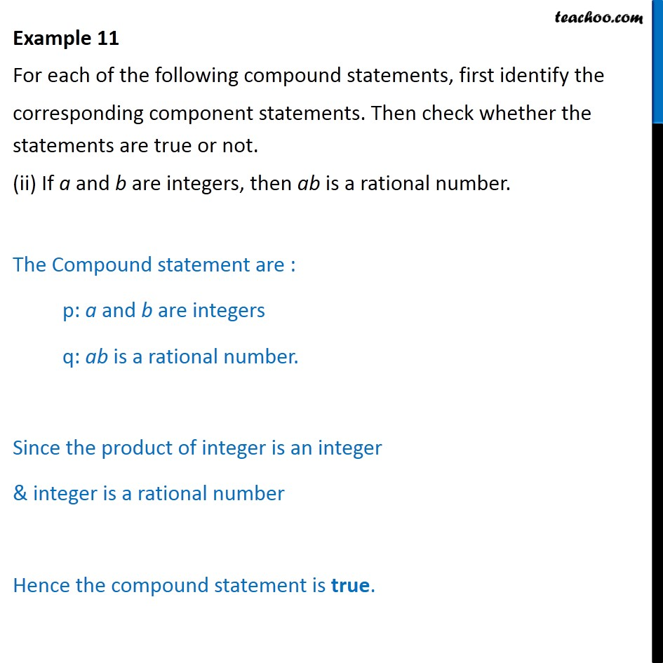 Example 11 - Chapter 14 Class 11 Mathematical Reasoning - Part 2