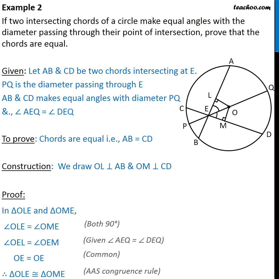 Example 2 - If two intersecting chords of a circle make - Examples