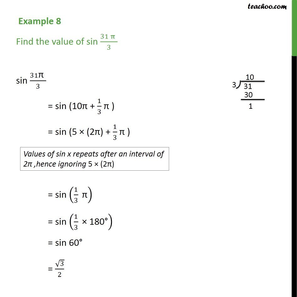 Example 8 - Find value of sin 31pi/3 - Chapter 3 Class 11 - Examples