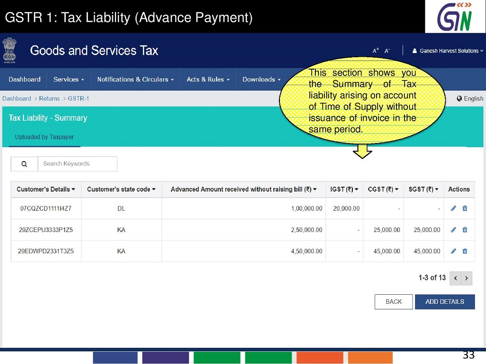 33 GSTR 1 Tax Liability (Advance Payment) This section shows you the Summary of Tax liability arising on account of Time of Supply without issuance of invoice in the same period.jpg