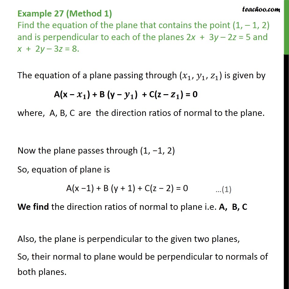 Example 27 - Find plane that contains point, perpendicular to - Angle between two planes