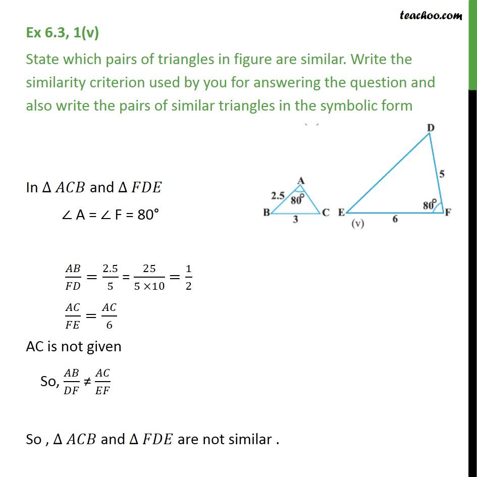 Ex 6.3, 1 (v)- Chapter 6 Class 10 Triangles - Teachoo