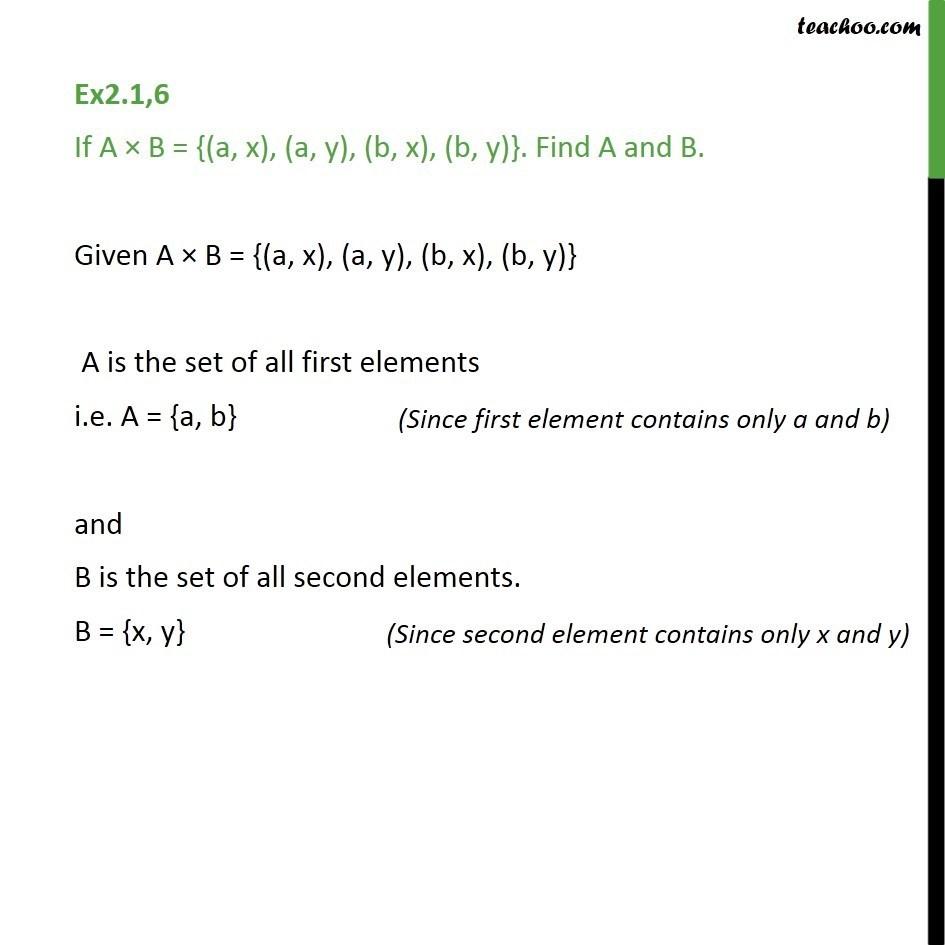 Ex 2.1, 6 - If A x B = {(a, x), (a, y), (b, x), (b, y)}. Find A, B - Ex 2.1
