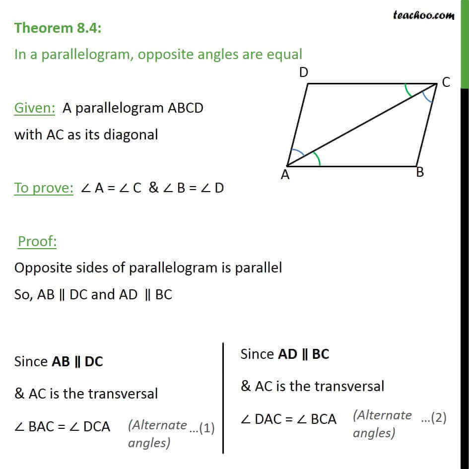 Theorem 8.4 - Class 9 - In parallelogram, opposite angles are equal.jpg